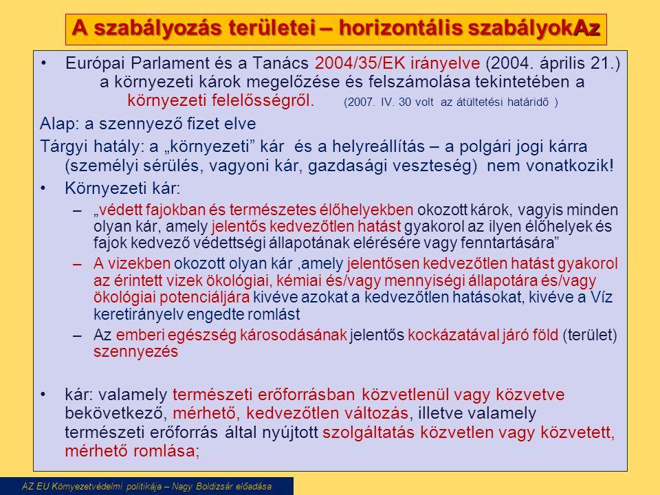A szabályozás területei – horizontális szabályokAz