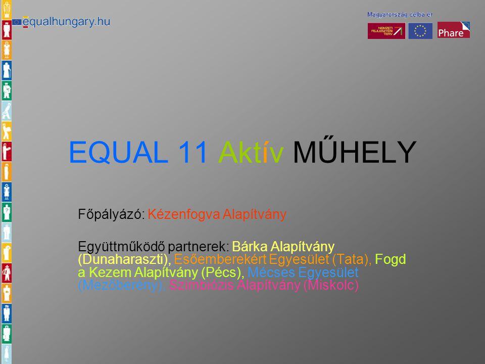 EQUAL 11 Aktív MŰHELY Főpályázó: Kézenfogva Alapítvány