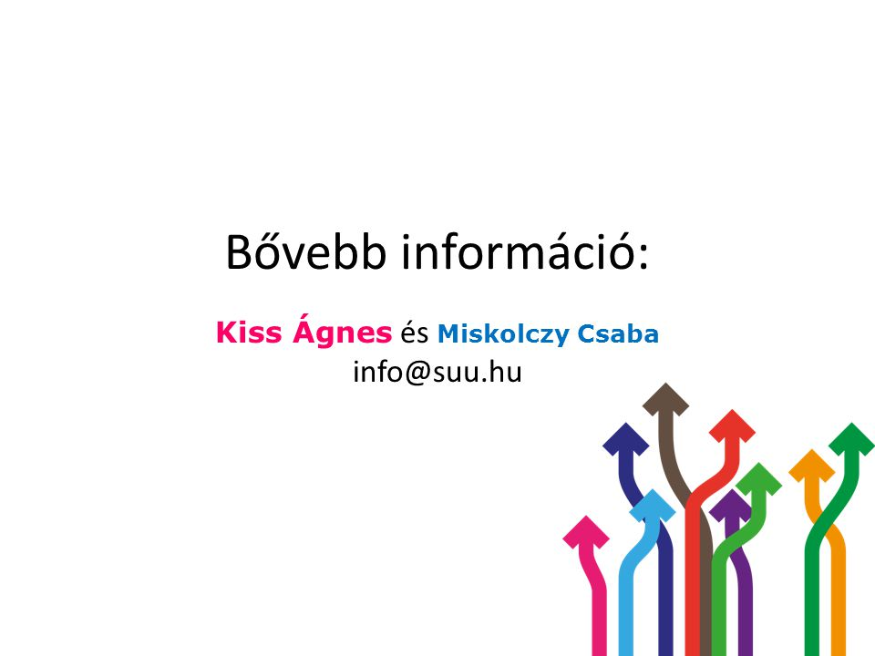 Bővebb információ: Kiss Ágnes és Miskolczy Csaba info@suu.hu
