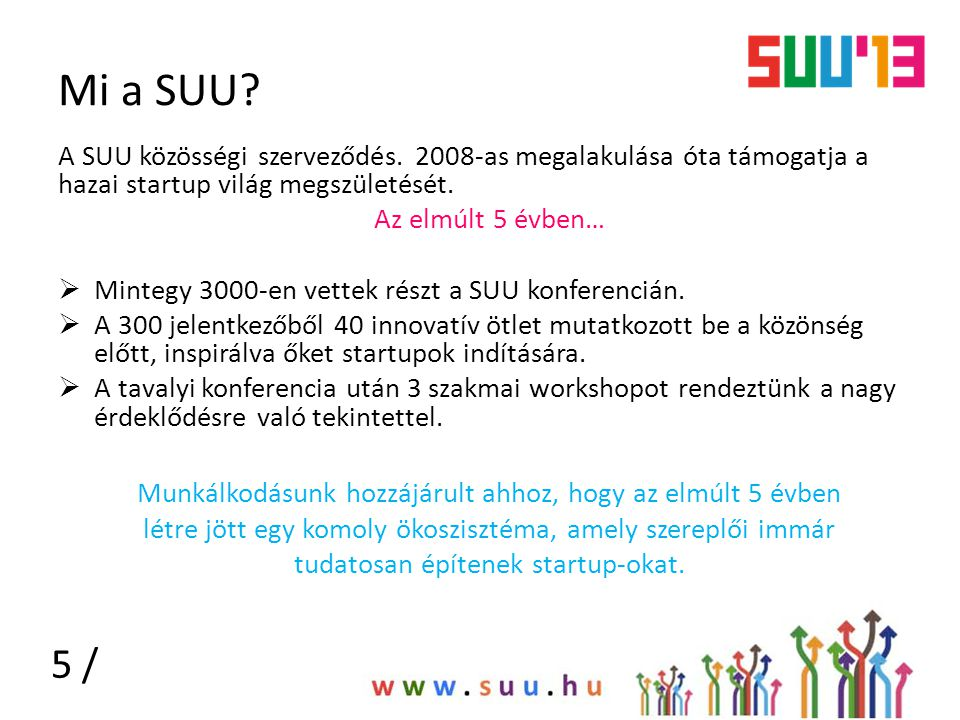 Mi a SUU A SUU közösségi szerveződés. 2008-as megalakulása óta támogatja a hazai startup világ megszületését.