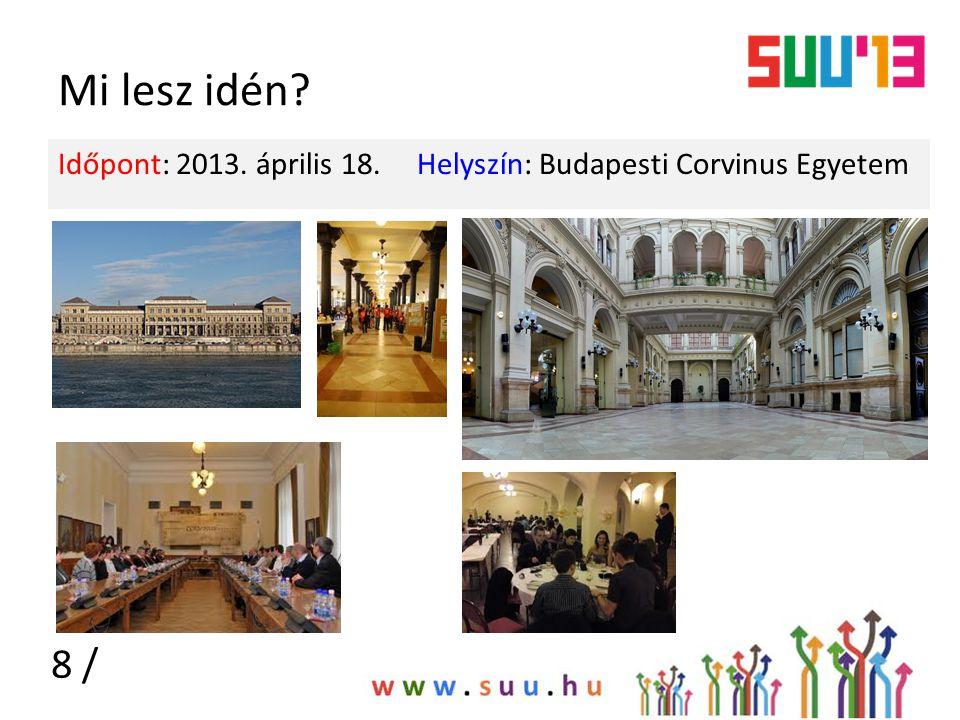 Mi lesz idén Időpont: 2013. április 18. Helyszín: Budapesti Corvinus Egyetem 8 /