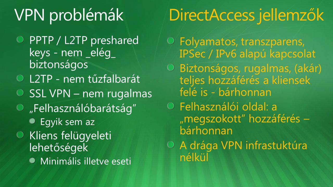 DirectAccess jellemzők
