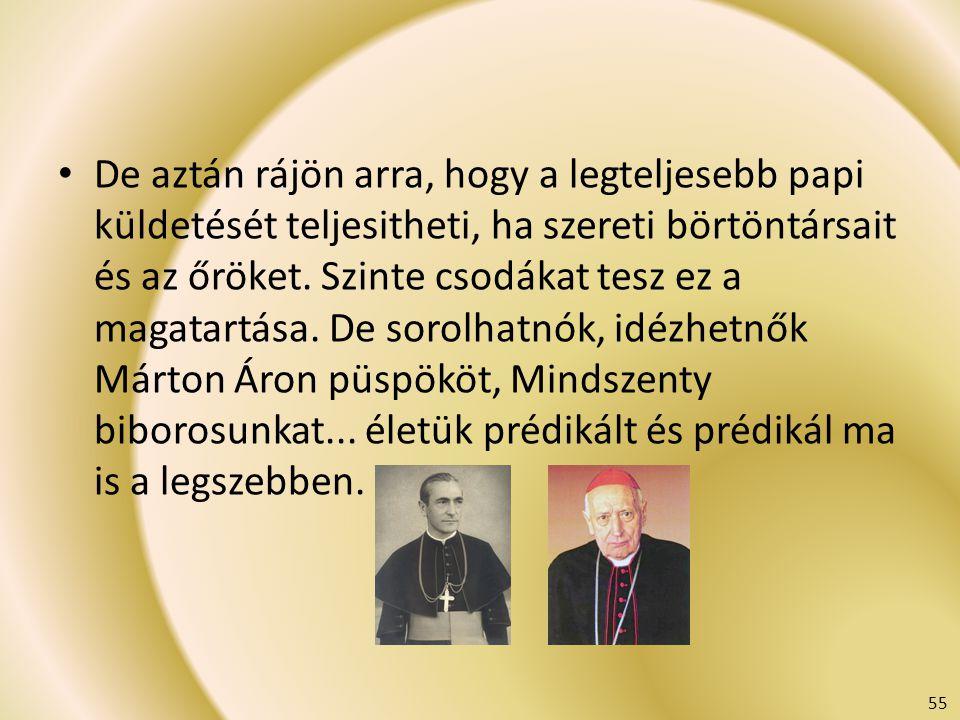 De aztán rájön arra, hogy a legteljesebb papi küldetését teljesitheti, ha szereti börtöntársait és az őröket. Szinte csodákat tesz ez a magatartása. De sorolhatnók, idézhetnők Márton Áron püspököt, Mindszenty biborosunkat... életük prédikált és prédikál ma is a legszebben.
