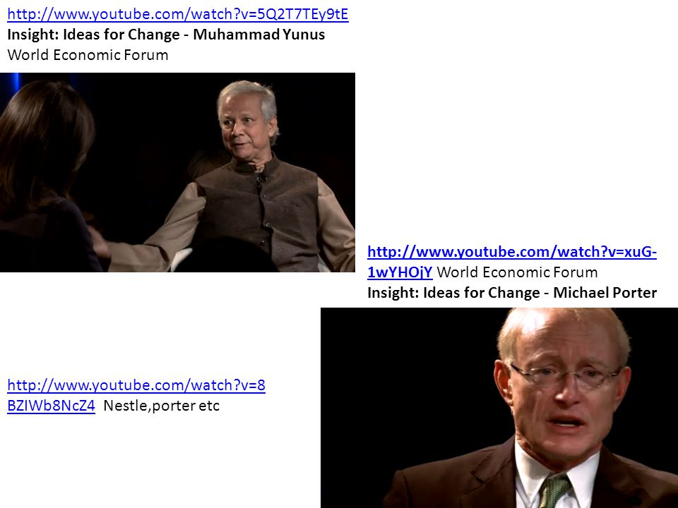 http://www.youtube.com/watch v=5Q2T7TEy9tE Insight: Ideas for Change - Muhammad Yunus. World Economic Forum.