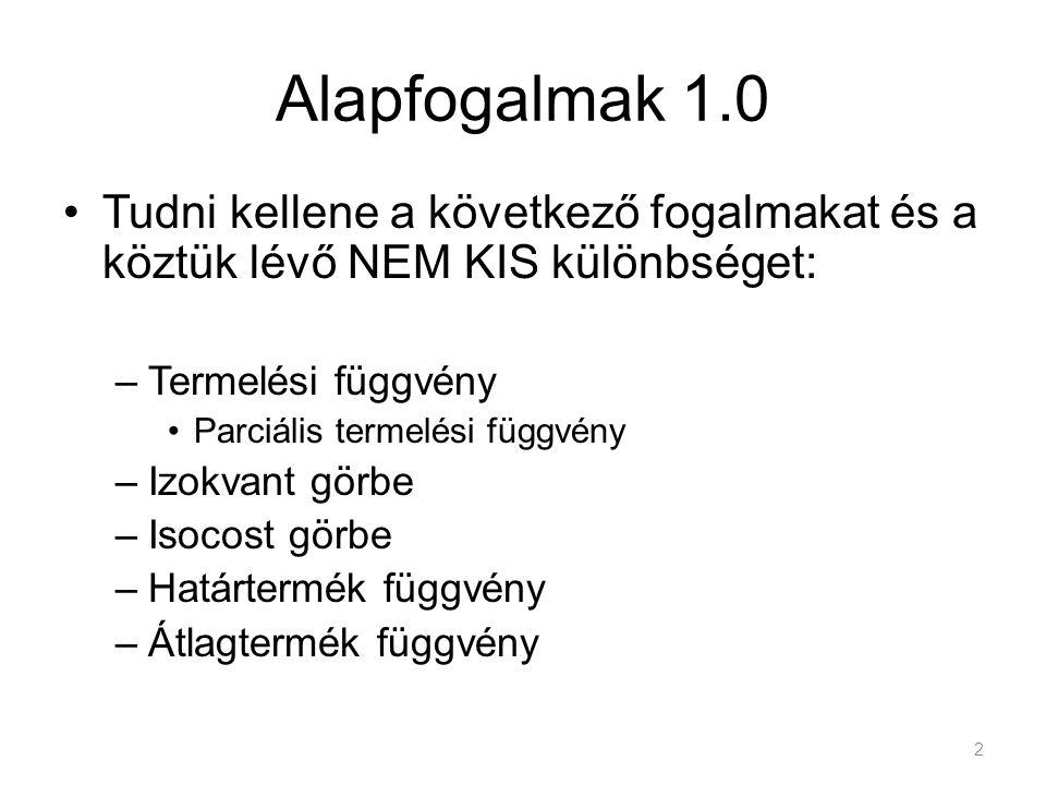 Alapfogalmak 1.0 Tudni kellene a következő fogalmakat és a köztük lévő NEM KIS különbséget: Termelési függvény.