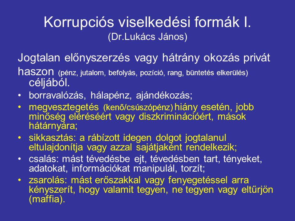 Korrupciós viselkedési formák I. (Dr.Lukács János)