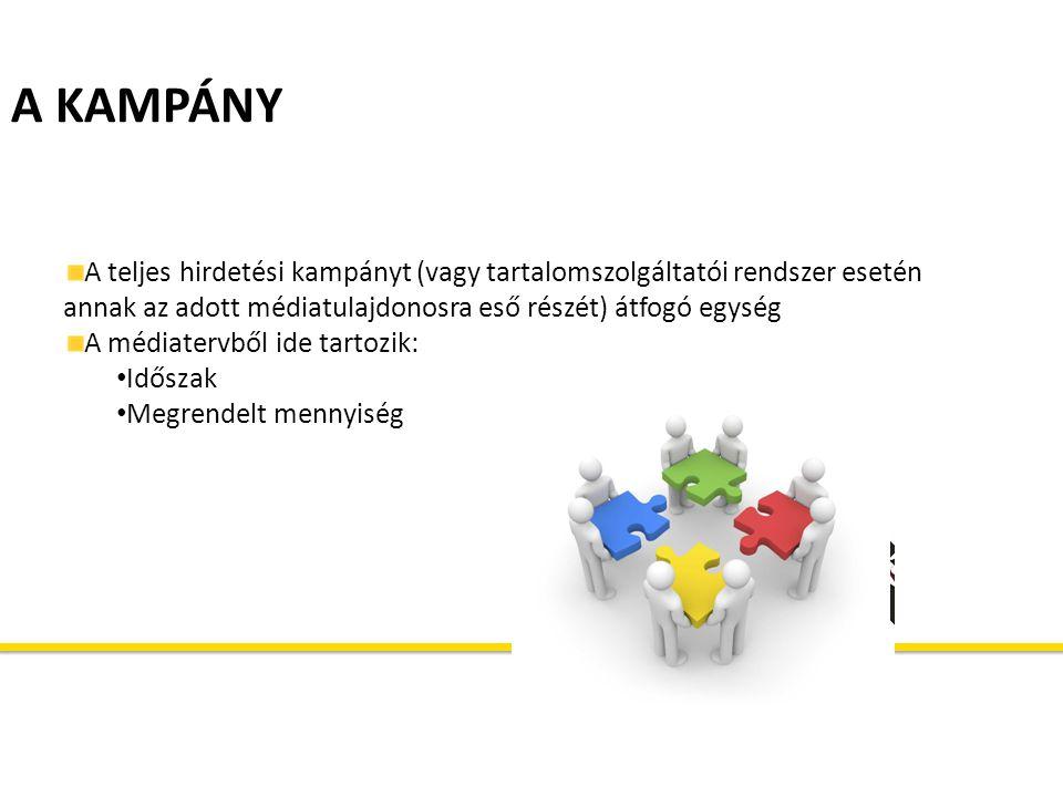 A KAMPÁNY A teljes hirdetési kampányt (vagy tartalomszolgáltatói rendszer esetén annak az adott médiatulajdonosra eső részét) átfogó egység.