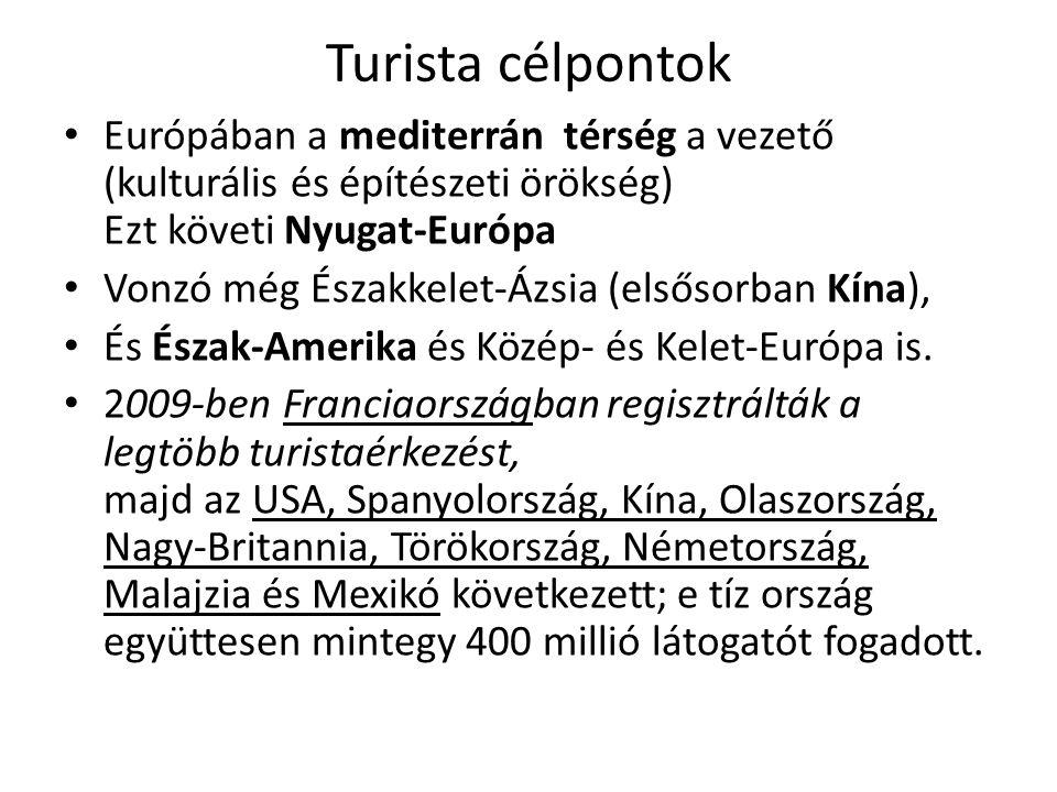 Turista célpontok Európában a mediterrán térség a vezető (kulturális és építészeti örökség) Ezt követi Nyugat-Európa.