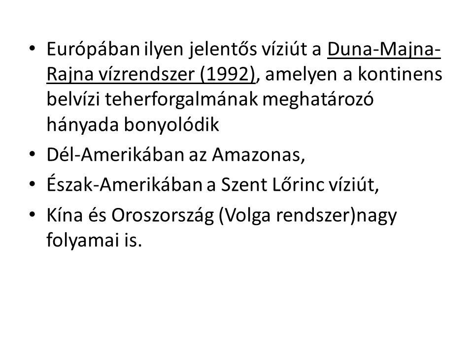 Európában ilyen jelentős víziút a Duna-Majna-Rajna vízrendszer (1992), amelyen a kontinens belvízi teherforgalmának meghatározó hányada bonyolódik
