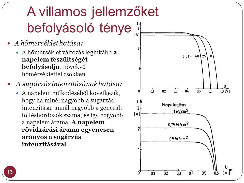 A villamos jellemzőket befolyásoló tényezők
