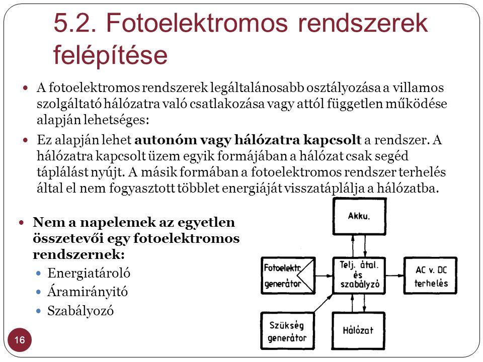 5.2. Fotoelektromos rendszerek felépítése