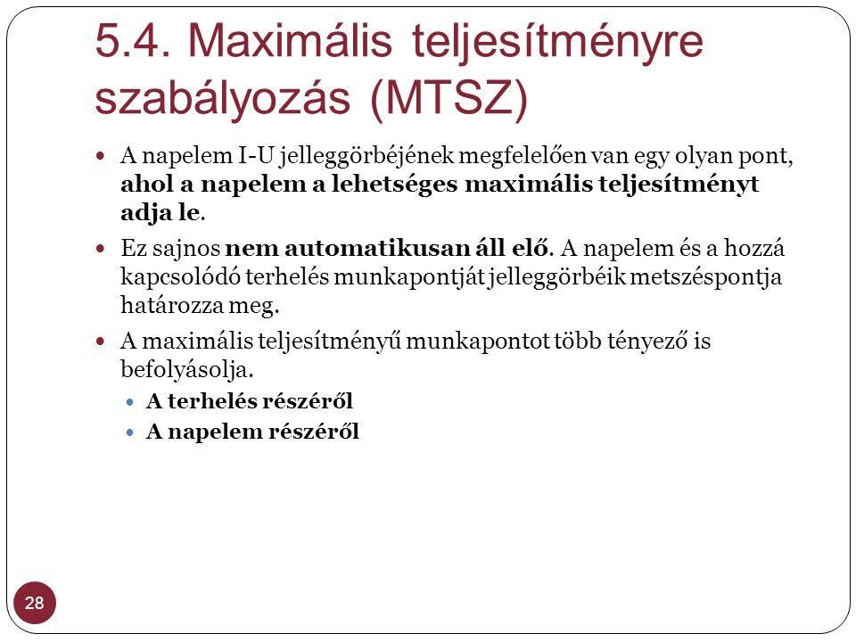 5.4. Maximális teljesítményre szabályozás (MTSZ)
