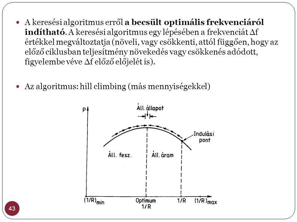 Az algoritmus: hill climbing (más mennyiségekkel)