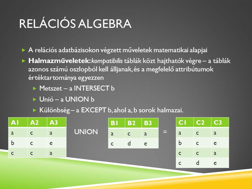 Relációs algebra A relációs adatbázisokon végzett műveletek matematikai alapjai.