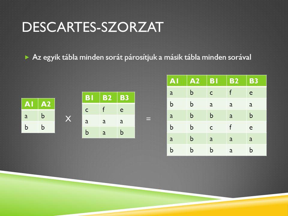 Descartes-szorzat Az egyik tábla minden sorát párosítjuk a másik tábla minden sorával. X =