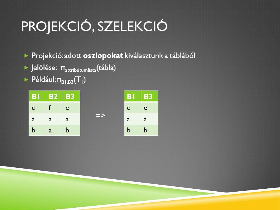 Projekció, szelekció Projekció: adott oszlopokat kiválasztunk a táblából. Jelölése: πattribútumlista(tábla)