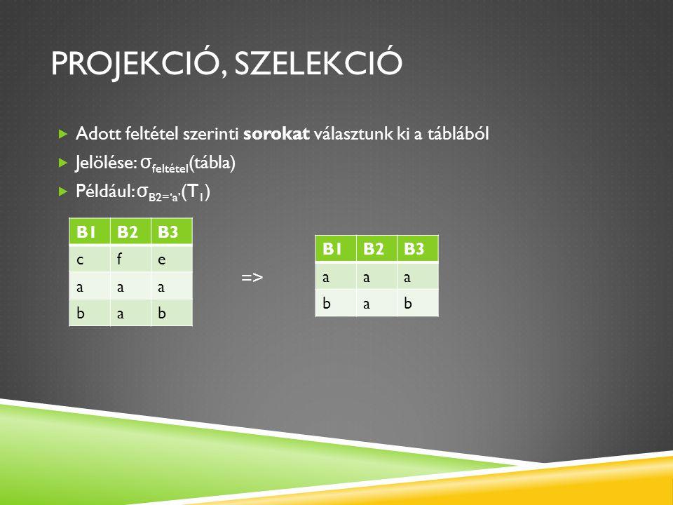 Projekció, Szelekció Adott feltétel szerinti sorokat választunk ki a táblából. Jelölése: σfeltétel(tábla)