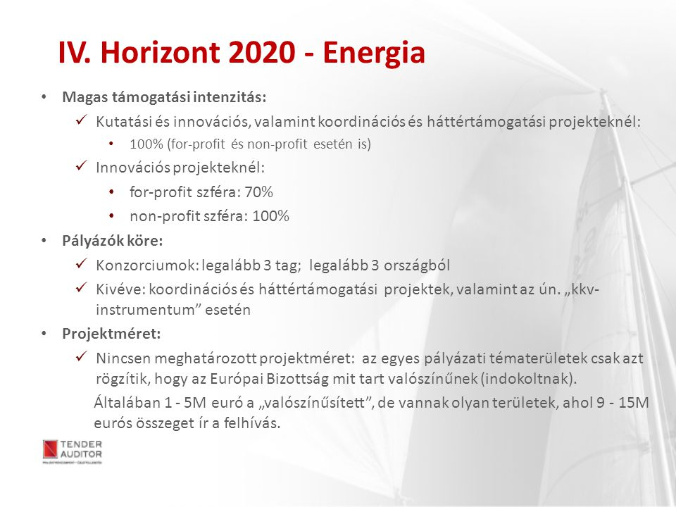 IV. Horizont 2020 - Energia Magas támogatási intenzitás: