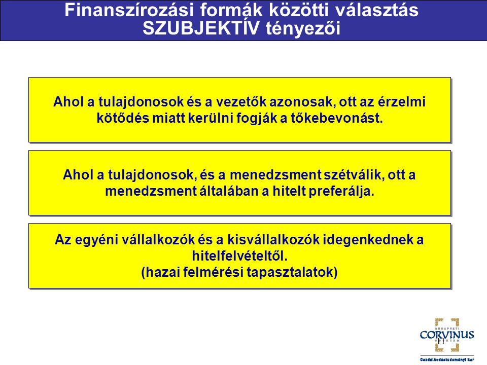 Finanszírozási formák közötti választás SZUBJEKTÍV tényezői