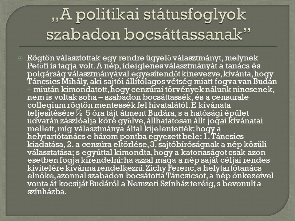 """""""A politikai státusfoglyok szabadon bocsáttassanak"""