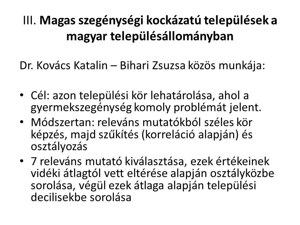 III. Magas szegénységi kockázatú települések a magyar településállományban