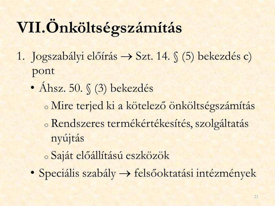 Önköltségszámítás Jogszabályi előírás  Szt. 14. § (5) bekezdés c) pont. Áhsz. 50. § (3) bekezdés.