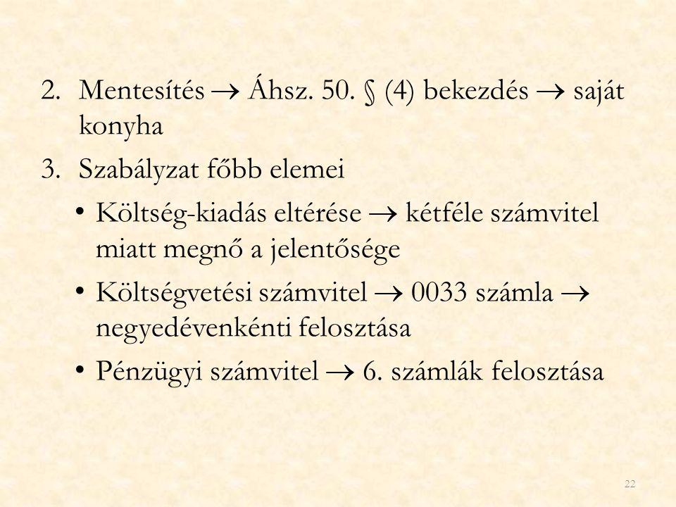 Mentesítés  Áhsz. 50. § (4) bekezdés  saját konyha