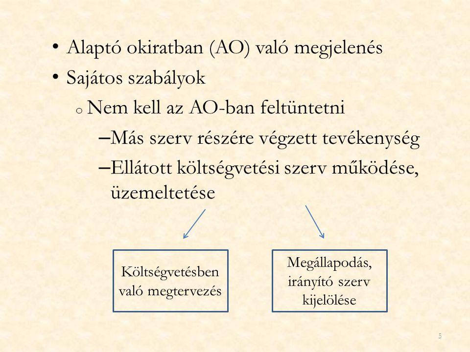 Alaptó okiratban (AO) való megjelenés Sajátos szabályok