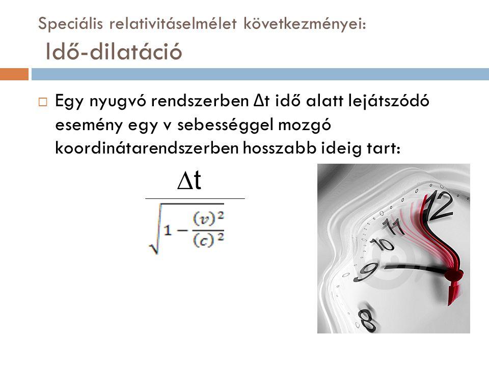 Speciális relativitáselmélet következményei: Idő-dilatáció