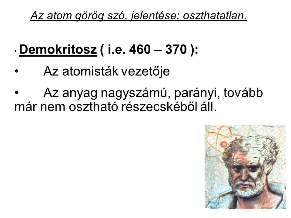 Az atom görög szó, jelentése: oszthatatlan.