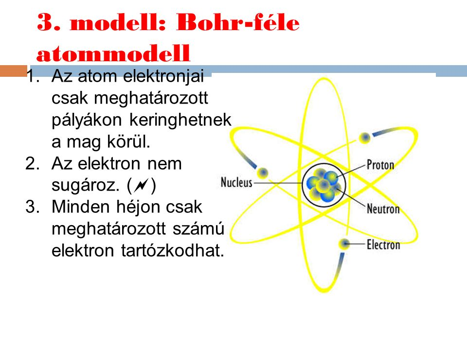 3. modell: Bohr-féle atommodell