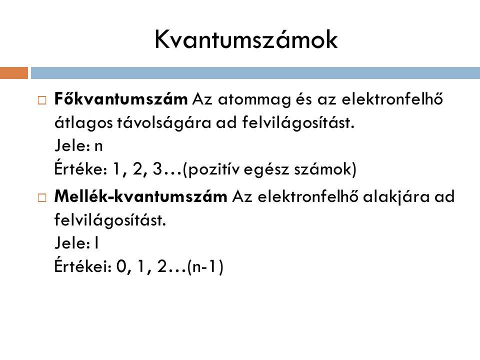 Kvantumszámok Főkvantumszám Az atommag és az elektronfelhő átlagos távolságára ad felvilágosítást. Jele: n Értéke: 1, 2, 3…(pozitív egész számok)
