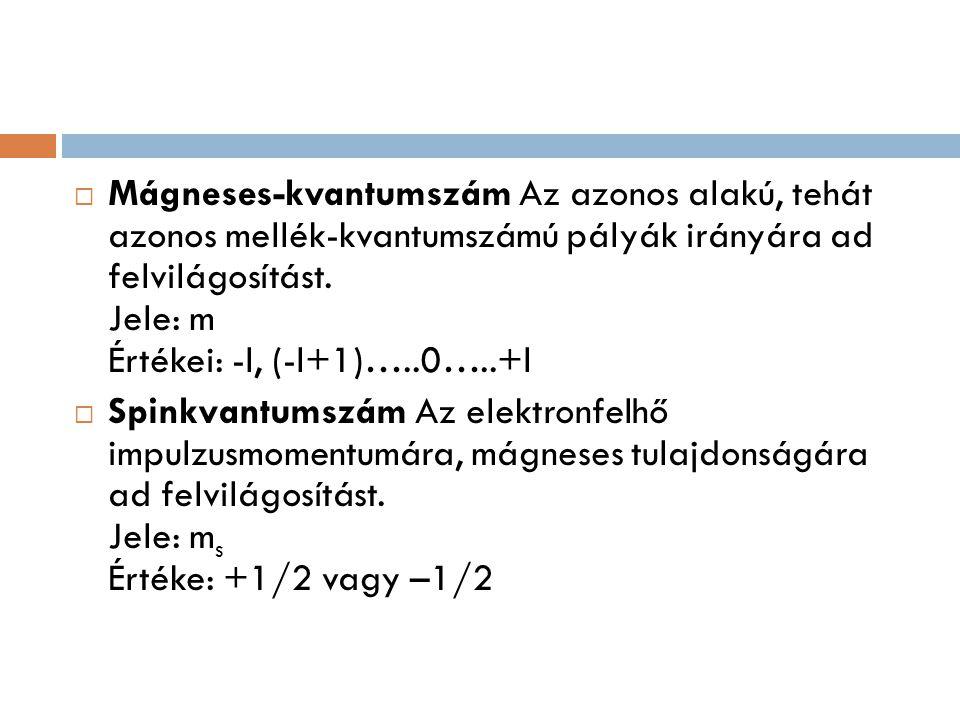 Mágneses-kvantumszám Az azonos alakú, tehát azonos mellék-kvantumszámú pályák irányára ad felvilágosítást. Jele: m Értékei: -l, (-l+1)…..0…..+l
