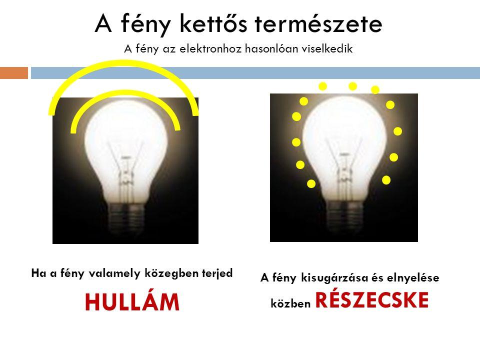 A fény kettős természete A fény az elektronhoz hasonlóan viselkedik