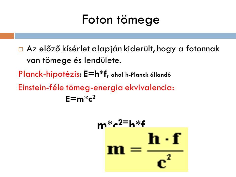 Foton tömege Az előző kísérlet alapján kiderült, hogy a fotonnak van tömege és lendülete. Planck-hipotézis: E=h*f, ahol h-Planck állandó.