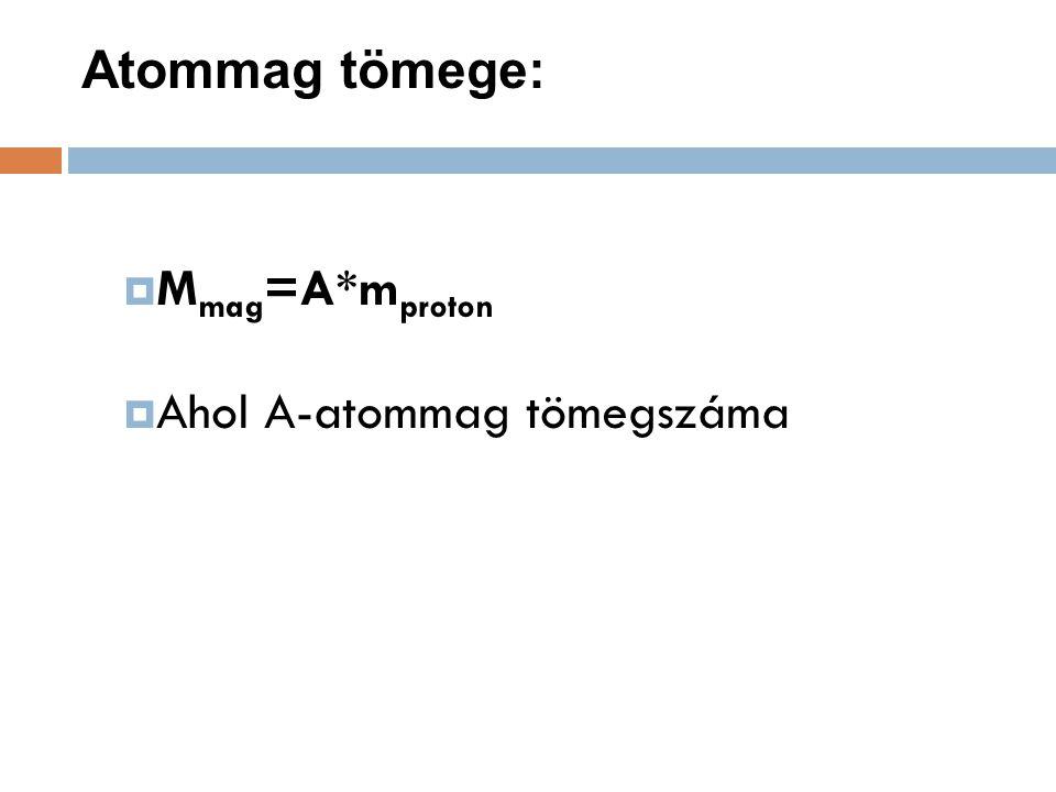 Atommag tömege: Mmag=A*mproton Ahol A-atommag tömegszáma