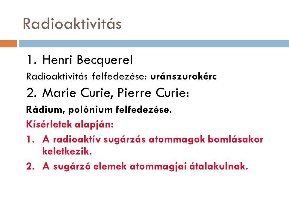 Radioaktivitás Henri Becquerel Marie Curie, Pierre Curie: