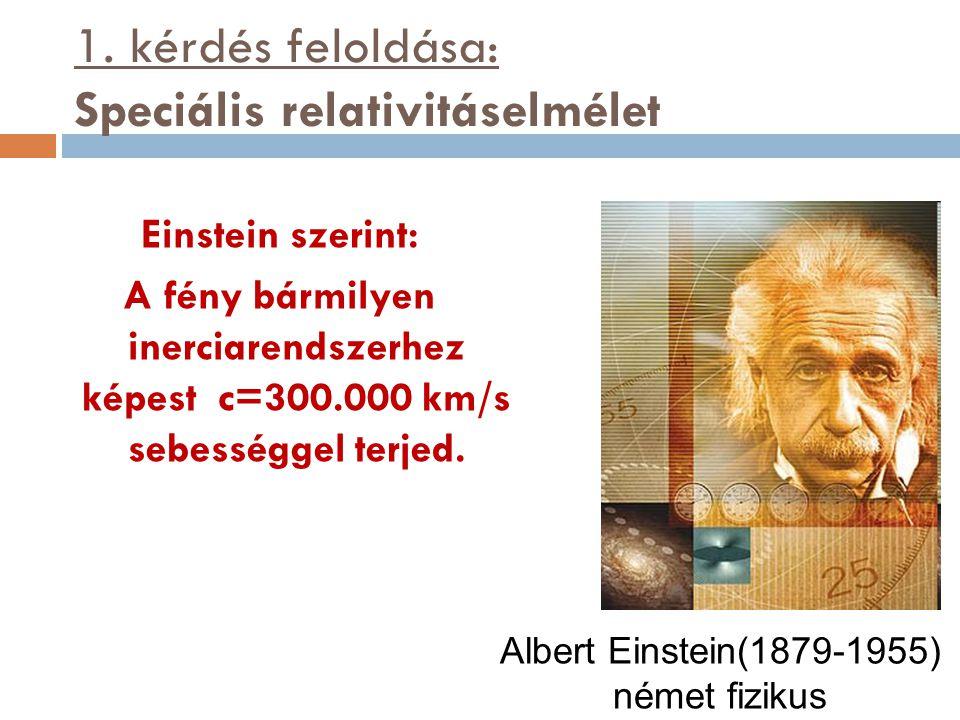 1. kérdés feloldása: Speciális relativitáselmélet