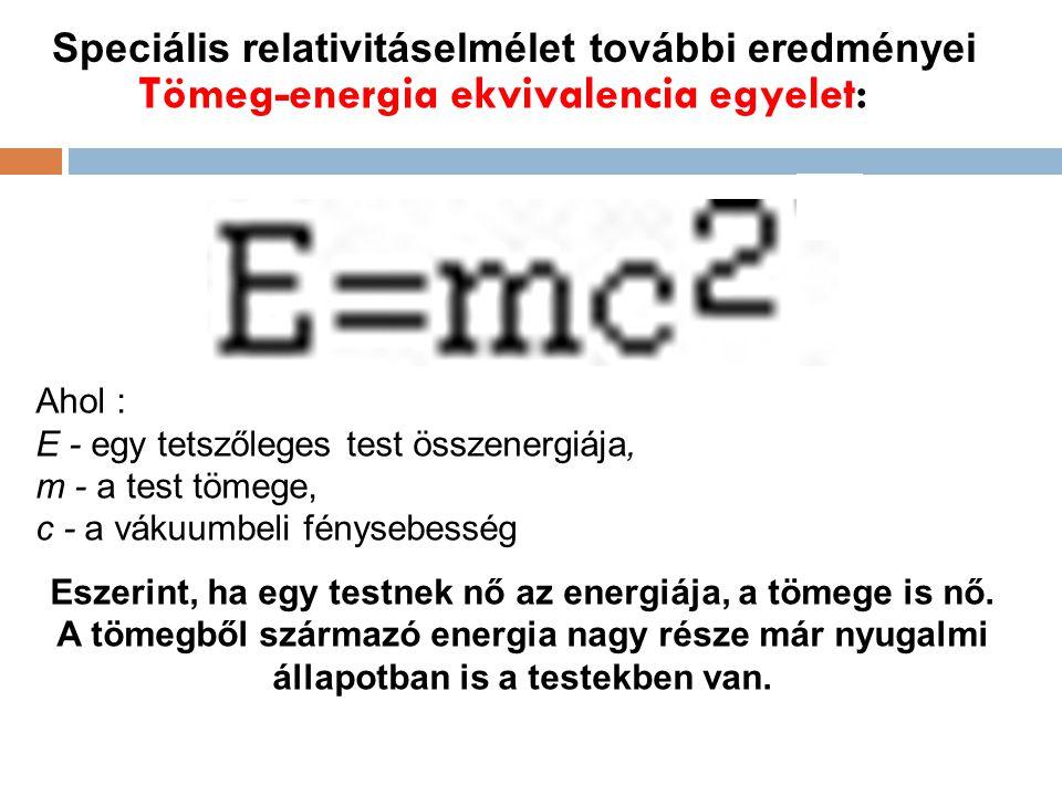 Tömeg-energia ekvivalencia egyelet: