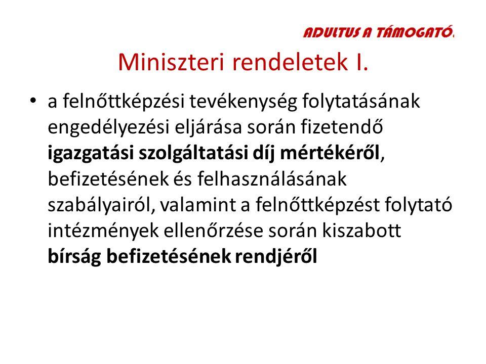 Miniszteri rendeletek I.