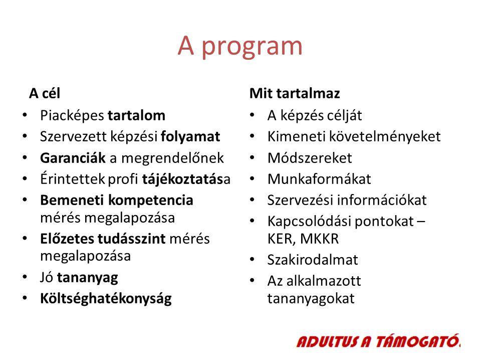 A program A cél Mit tartalmaz Piacképes tartalom