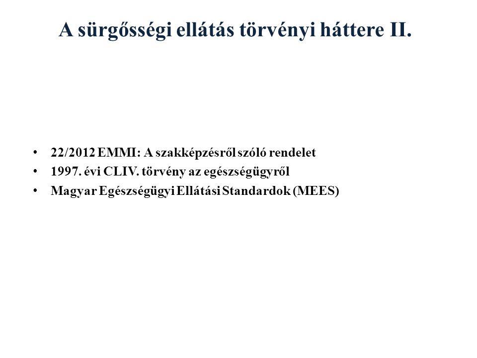A sürgősségi ellátás törvényi háttere II.