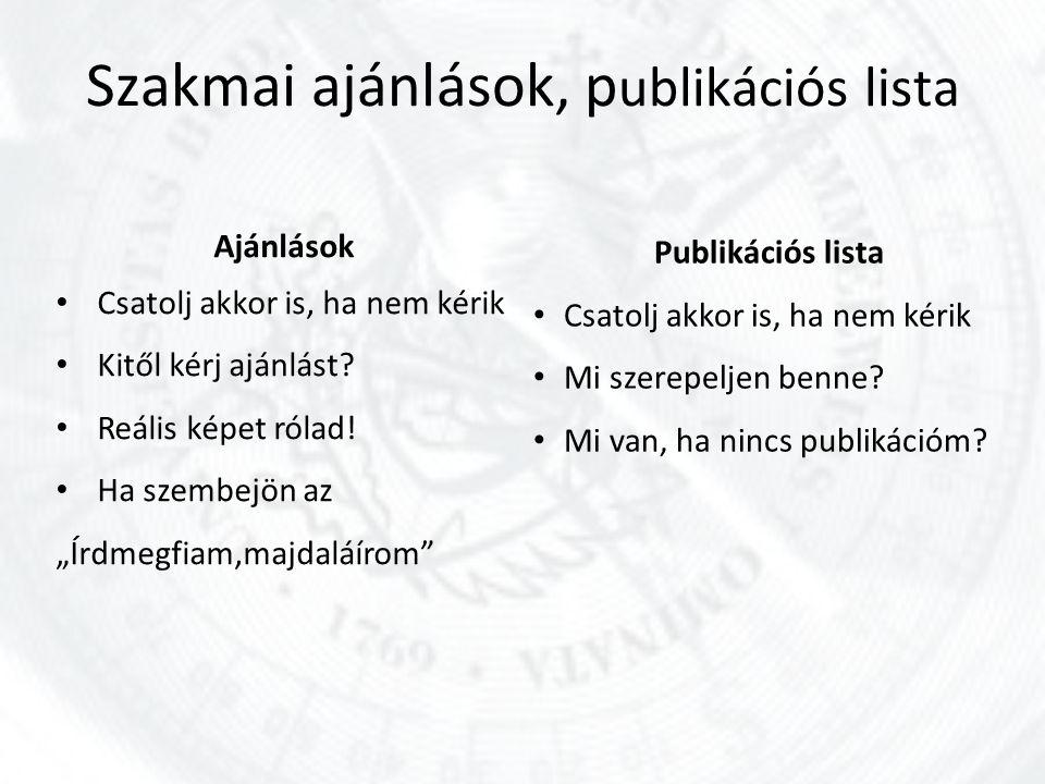 Szakmai ajánlások, publikációs lista