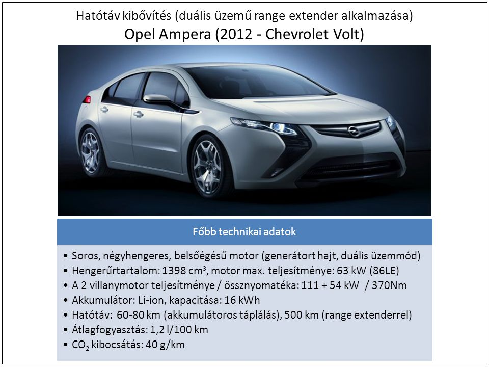 Hatótáv kibővítés (duális üzemű range extender alkalmazása) Opel Ampera (2012 - Chevrolet Volt)