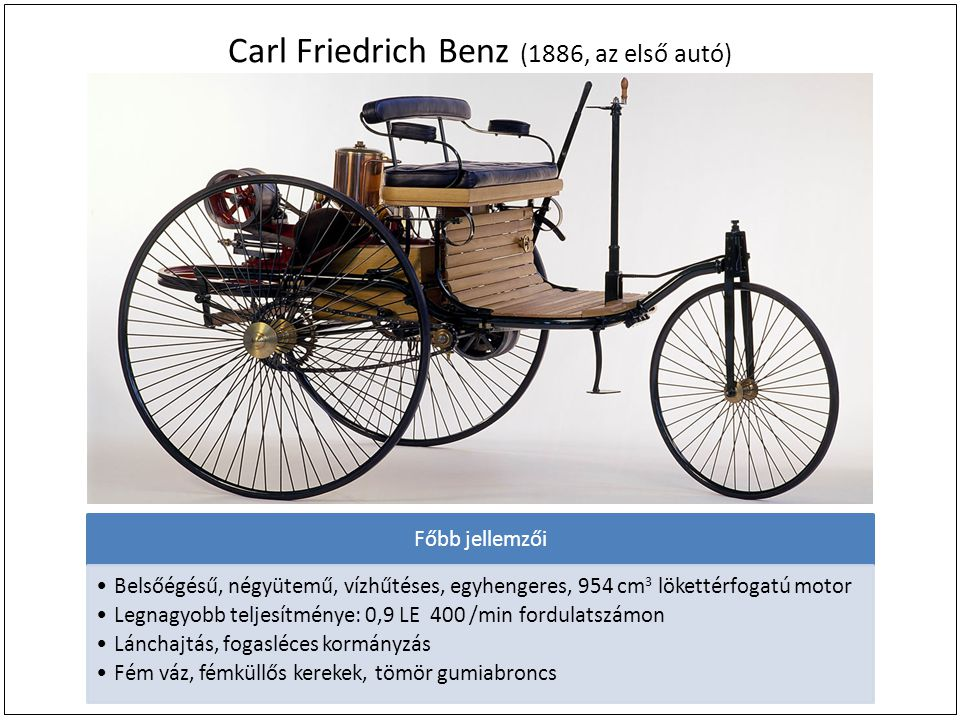 Carl Friedrich Benz (1886, az első autó)