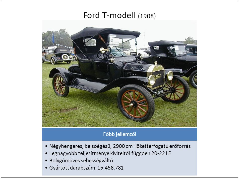 Ford T-modell (1908) Főbb jellemzői