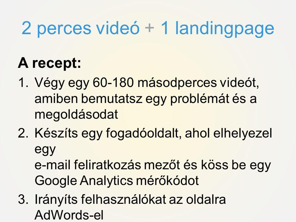 2 perces videó + 1 landingpage
