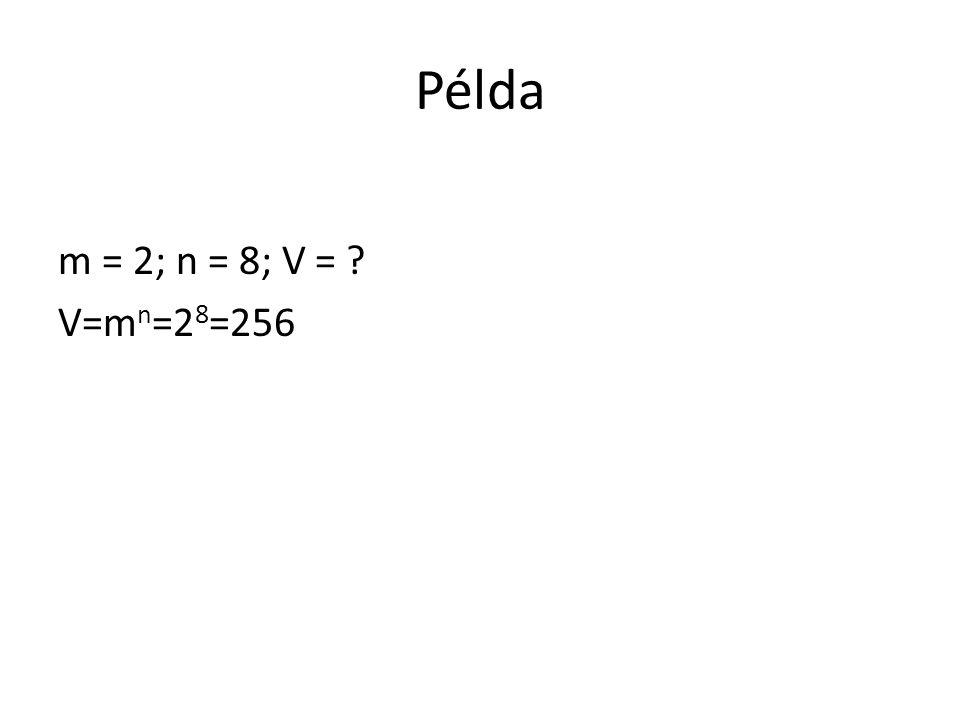 Példa m = 2; n = 8; V = V=mn=28=256