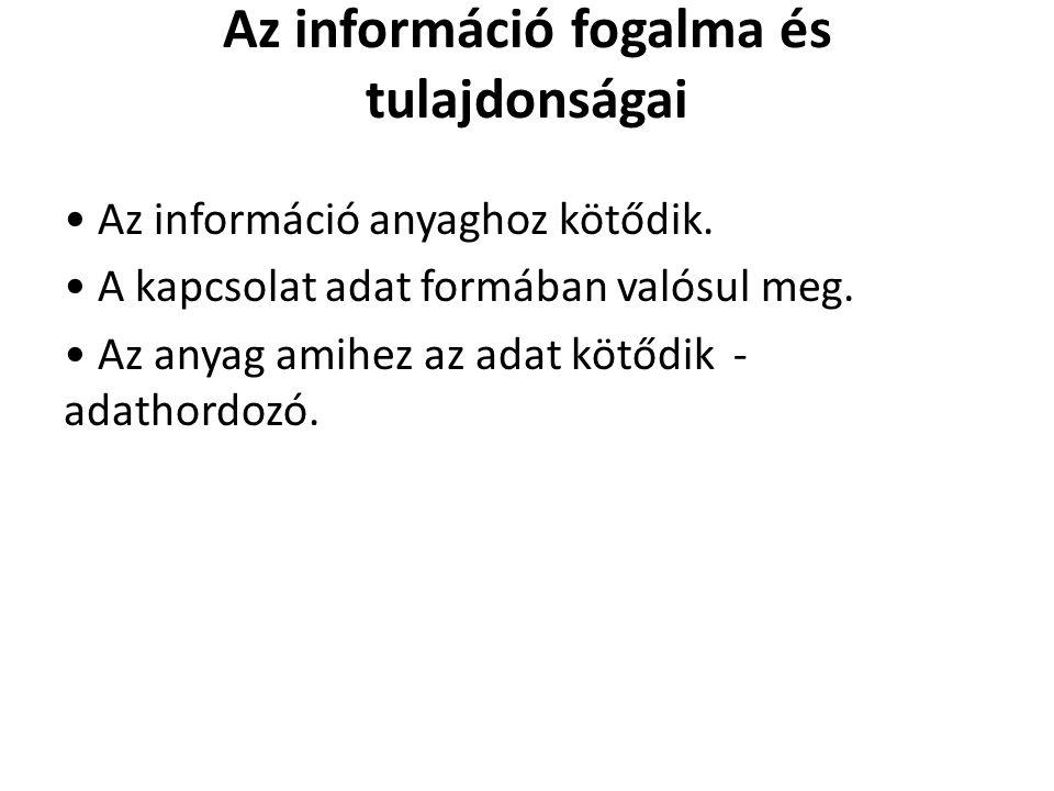 Az információ fogalma és tulajdonságai