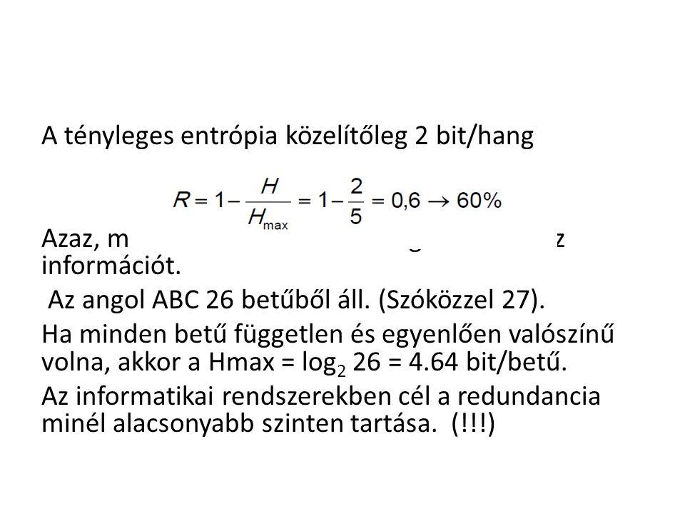 A tényleges entrópia közelítőleg 2 bit/hang Azaz, minden 10 kimondott hangból 4 hordoz információt.